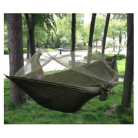 Portable High Strength Parachute Fabric Hammock Hanging Bed With Mosquito Net For Outdoor Camping Travel Camouflage