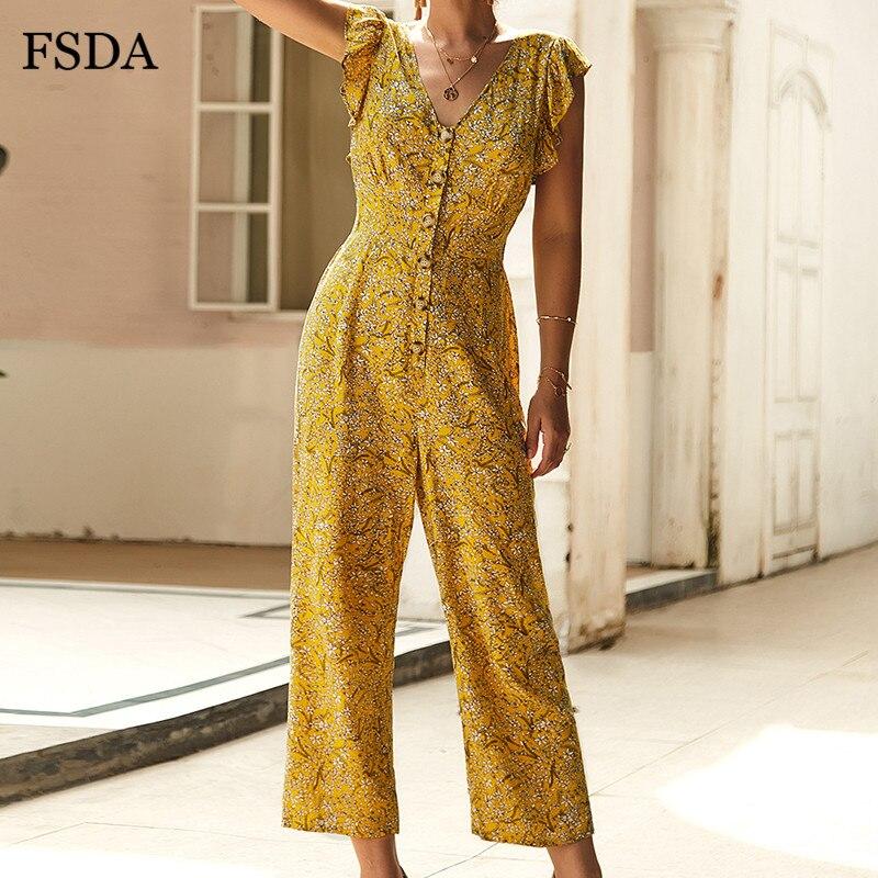 FSDA Chiffon Ruffles Floral Jumpsuit Summer Elegant Boho Wide Leg Rompers Button V Neck Casual Sleeveless Women Jumpsuits Beach