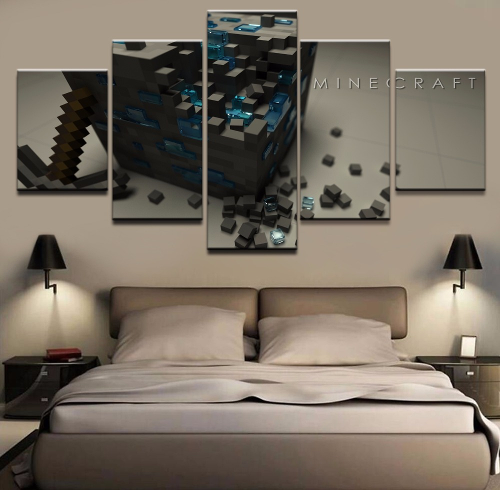 HD Print Painting Decorative Painting Canvas Wall Art Picture Home Living Room Modern Decorative Artwork Minecraft Game 5 Piece in Painting Calligraphy from Home Garden
