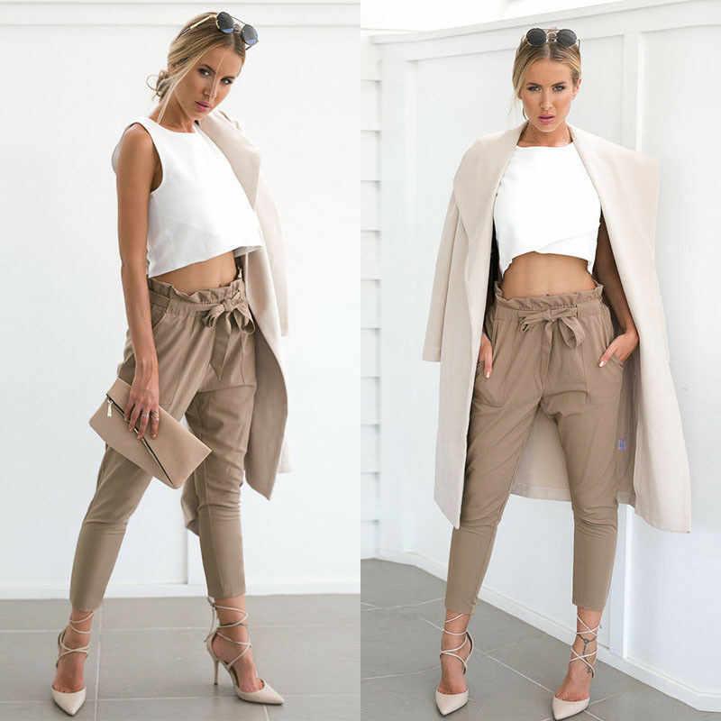 Kadınlar Yüksek Bel Elastik harem pantolon Rahat OL Çalışma Ofisi Bayan Ayak Bileği uzunlukta Sıska Kapriler Pantolon Kadın Giyim kalem pantolon