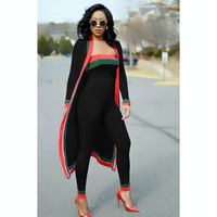 2019 Spring Summer Red And Green Strape Stitching Wrapped Chest Tights 3 pieces Contigt Sets S628