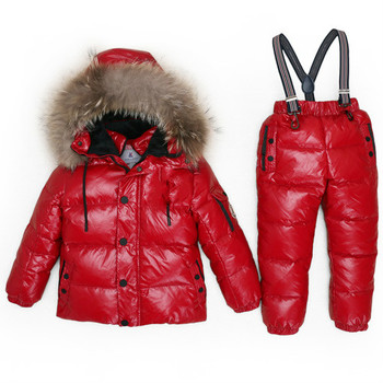 Boy Winter Ski Suits 2019 80% White Duck Down Jacket Girl Suit Overalls Children's Sportswear Baby Fashion Clothing Waterproof 1