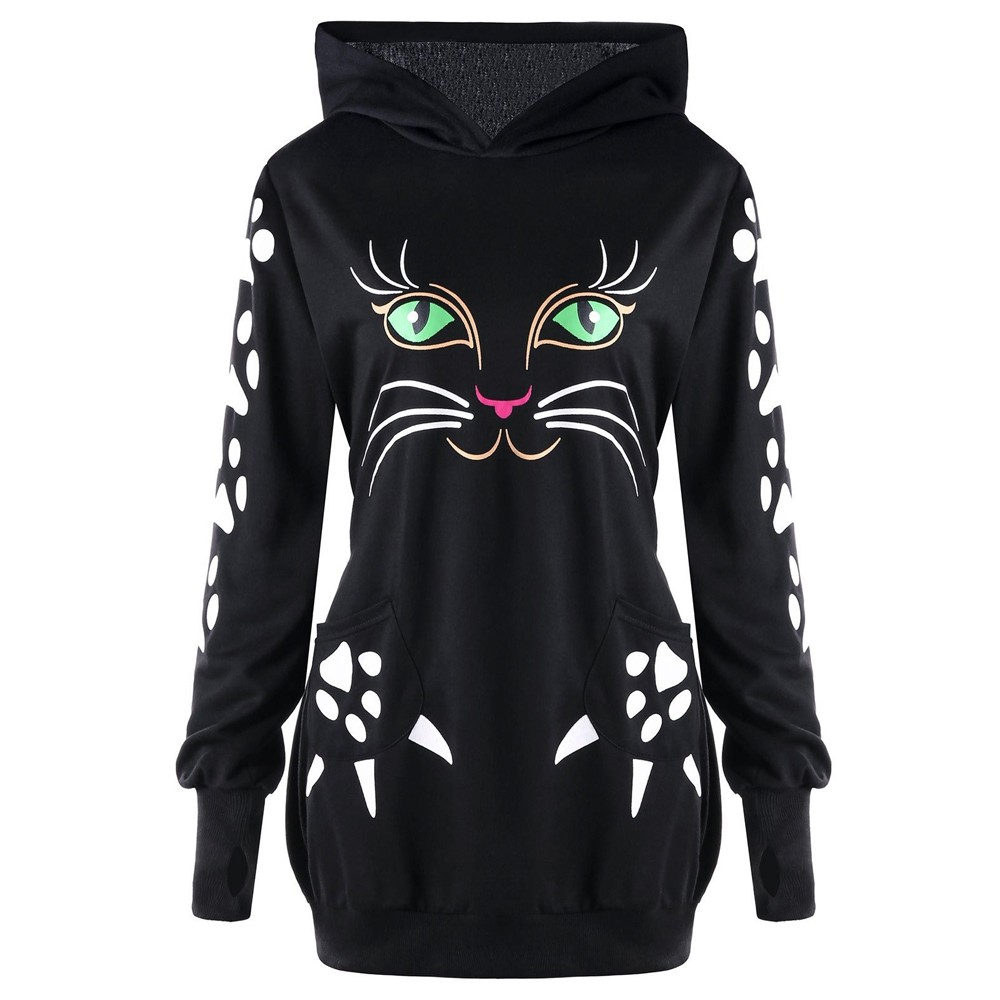 Casual Hoodies For Lady Funny Hipster Jumper Autumn Winter Cat Looking Out Side Print Women Pullovers Sweatshirts Women's Clothing