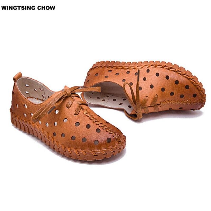 Nueva Primavera Verano Zapatos de Cuero de Las Mujeres Pisos Lace Up Mujeres Moc