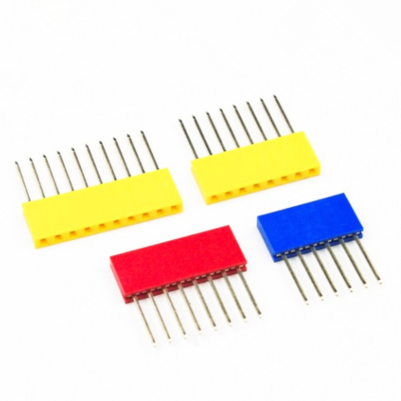 10Pcs 4P/6P/8P/10 Pins Female Tall Stackable Header Connector Socket 11mm For Arduino Shield 4-Color Black/Red/Blue/Yellow