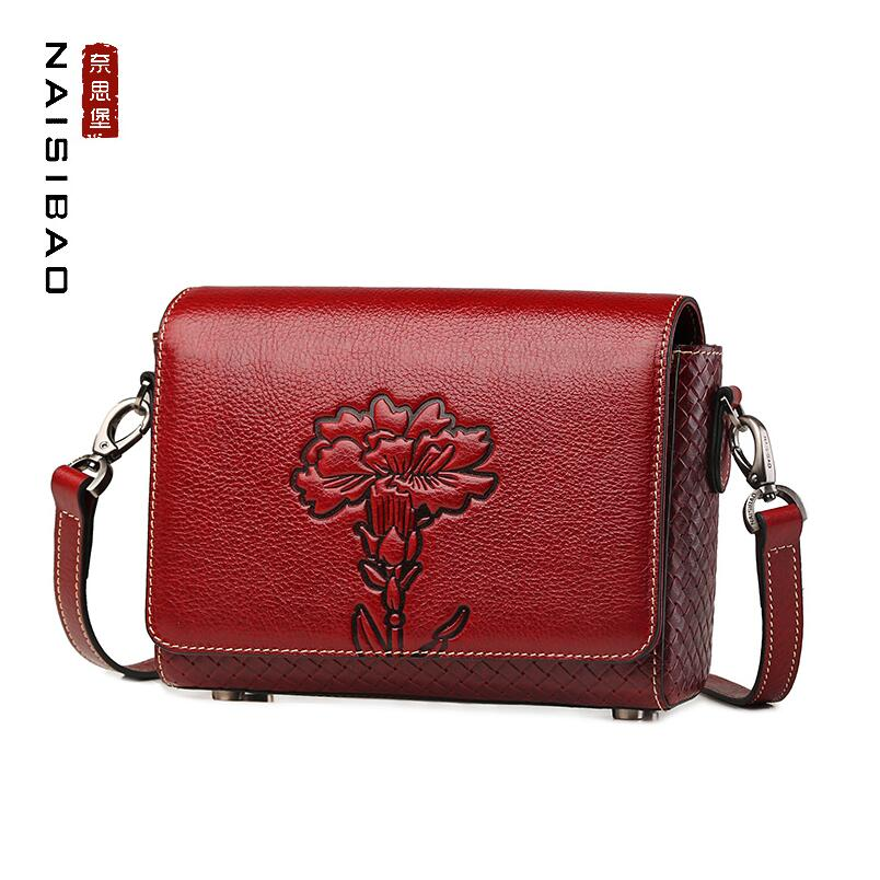 NAISIBAO2018 new luxury fashion 100% high quality Messenger shoulder retro embossed leather cowhide mother package 2016 new retro 100