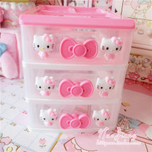 Cute Pink Hello Kitty Desktop Receiver Box Cosmetic Plastic Storage Drawer Jewelry Storage Boxes Pull-out Drawer Organiser