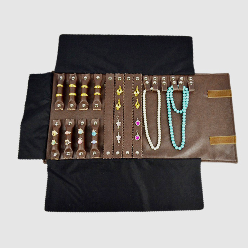 Brown Leatherette Trifold Ring Earring Bracelet Necklace Chian Set