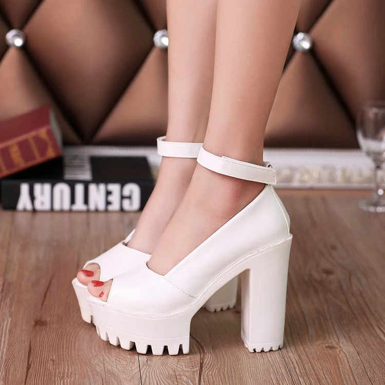 2019 Platformu yüksek topuklu ayakkabı kadın ayakkabı zapatos mujer lolita ayakkabı kadın pompaları yeni moda bayanlar ayakkabı Balık kafası yüksek topuk 7
