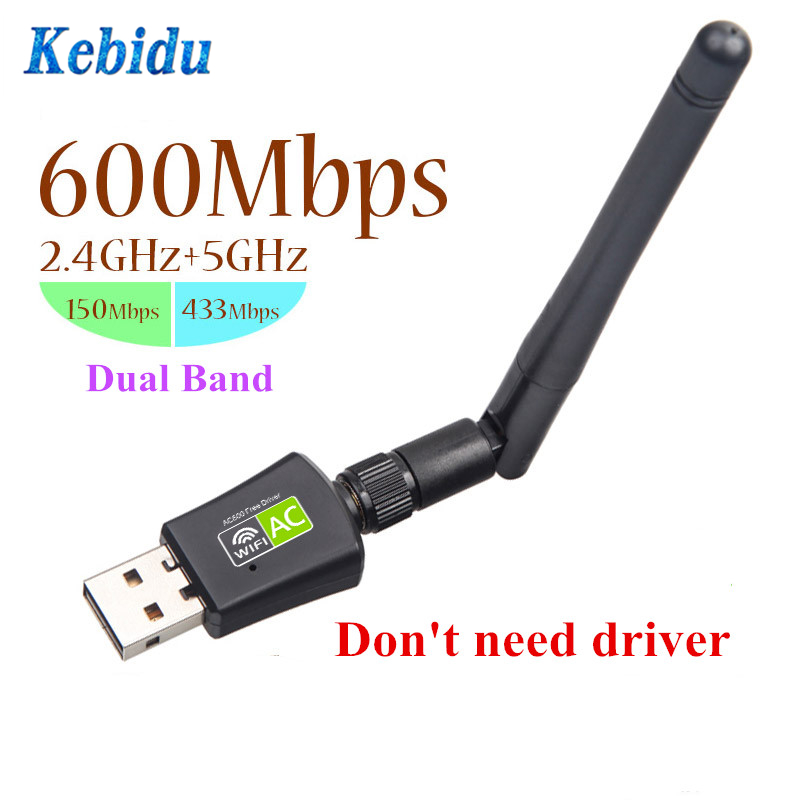 kebidu Dual Band 5Ghz 2.4Ghz 600Mbps USB Wireless Network Cards WiFi Adapter for Desktop/Laptop/PC Free Driver Wholesale(China)