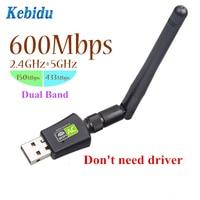 Kebidu de doble banda de 5 GHz 2,4 GHz 600 Mbps USB inalámbrico tarjetas de red WiFi adaptador para escritorio/portátil/ PC gratis conductor venta al por mayor