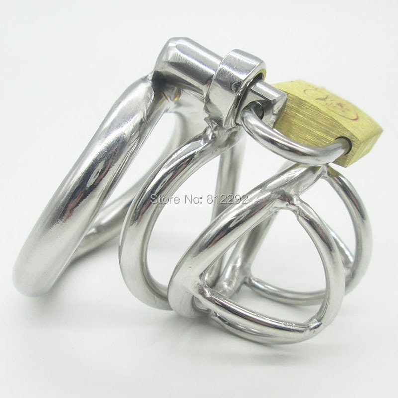 NEW Stainless Steel Super Small Male Chastity device Adult Cock Cage With Curve Cock Ring BDSM Sex Toys Bondage Chastity belt 2016 adult male max security steel trap locking male chastity belt with cock cage and large crotch panel cbt slave restraint sex
