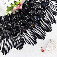 2016 New Water Soluble Embroidery Cotton Lace Tassel Clothing Accessories Handcraft DIY Decorative Black Lace Hem