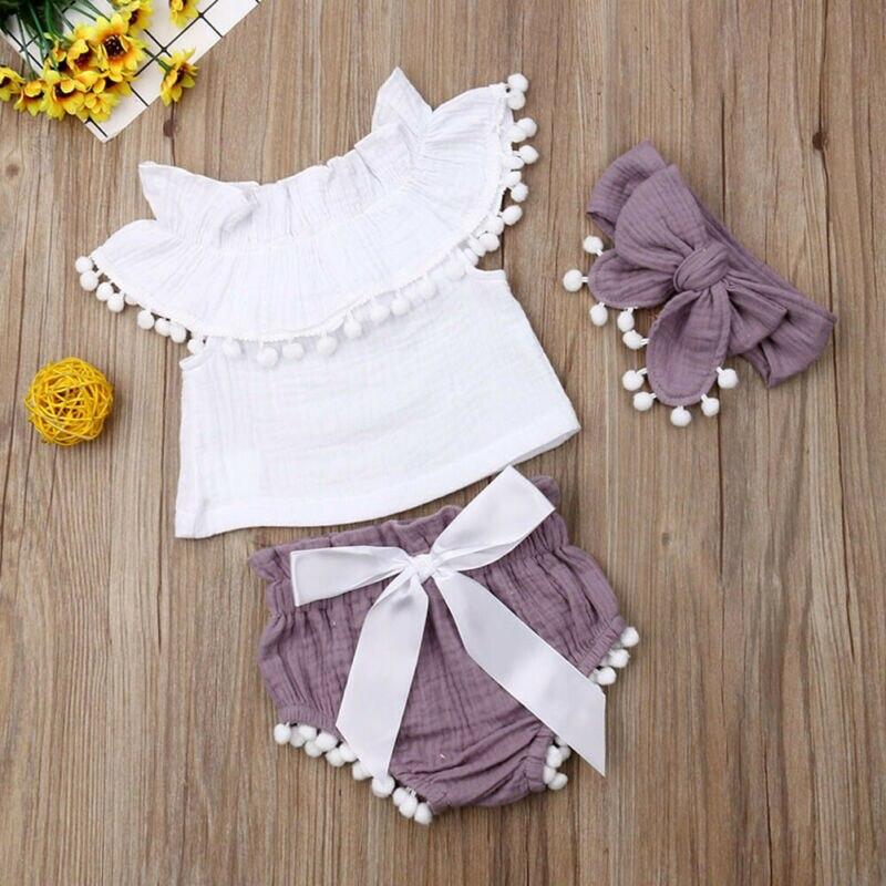 Одежда для новорожденных, для маленьких девочек, топ с оборками, шорты, летняя одежда из хлопка и льна