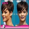130% densidade reta sem cola cheia do laço peruca curta de cabelo peruano rendas completo perucas de cabelo estrondo Rihanna perucas de cabelo