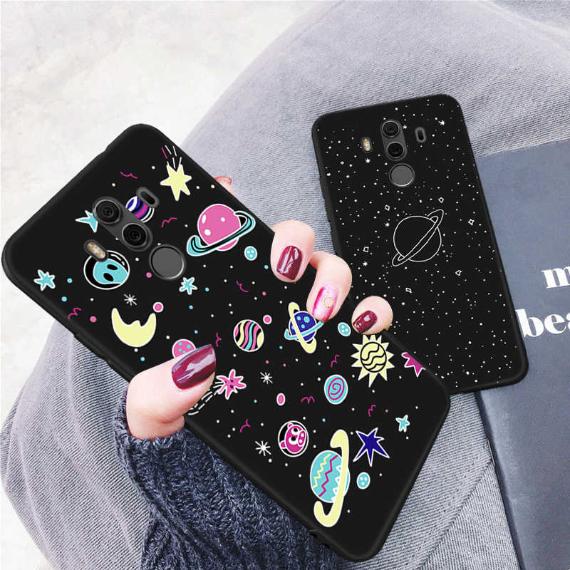 Cartoon Painted TPU Case For Huawei P8 Lite 2017 P20 Lite Mate 10 Pro P10 Shell Star Moon Pattern Silicon Cover For Honor 8 Lite