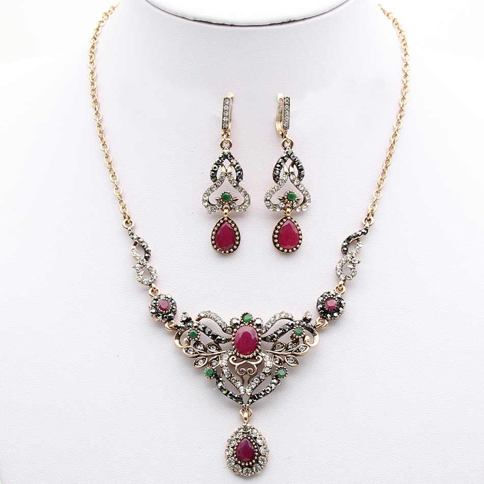 Turecki kobiety kolczyki naszyjnik zestaw biżuterii żywica Rhinestone spadek księżniczka hak kolczyk kwiat ślub naszyjnik Retro pokryte złotem