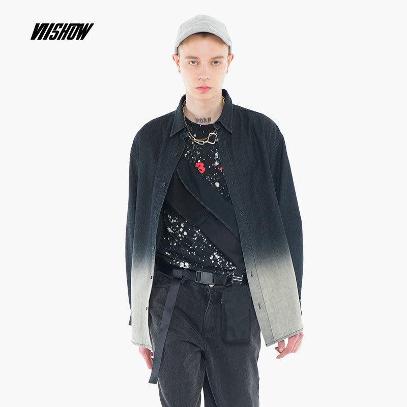 VIISHOW Camisas de hombre Camisa de gradiente de marca Camisa - Ropa de hombre