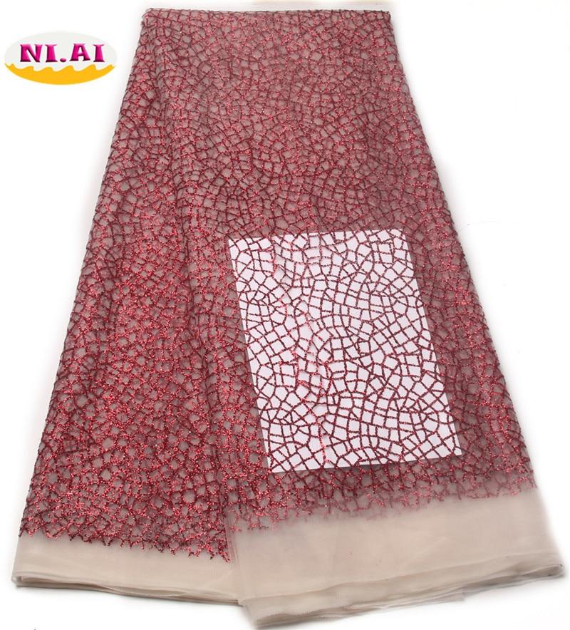 Latest Shinning powder hand print glitter lace fabric 5yards for indian/nigerian wedding/ evening dress/stage XY776B