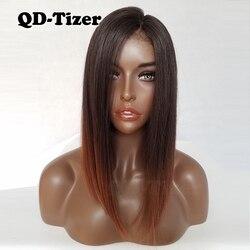 QD-Tizer Kurze Bob Haar Synthetische Spitze Front Perücken Braun Ombre Haar Glueless bob Perücke Hitze Beständig Spitze Haar perücken