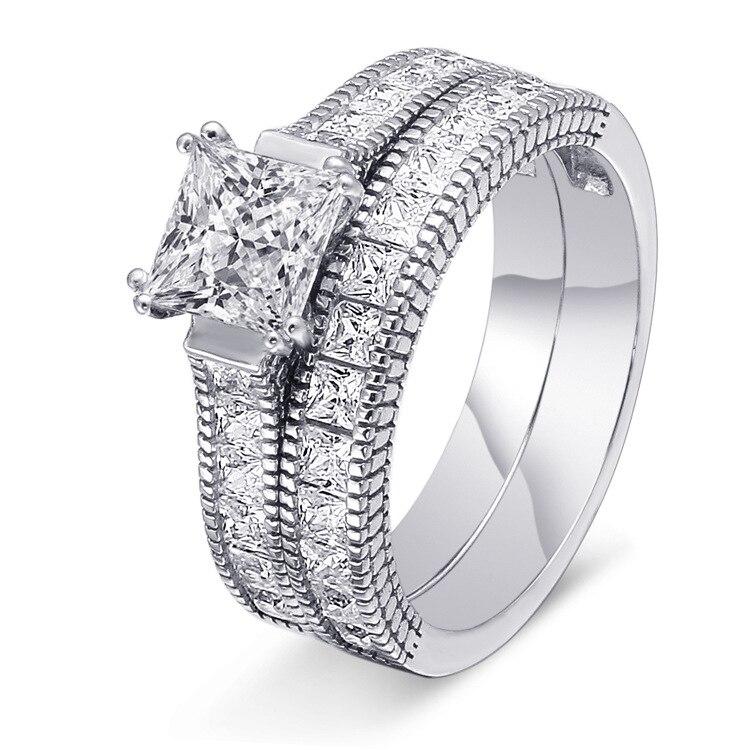 TONGLiN carré cubique zircone anneaux 925 argent bijoux de mariage femme bague de fiançailles pour les femmes partie nouveau cadeau