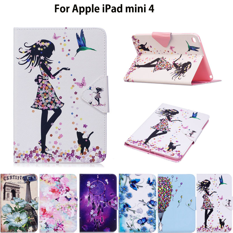 Fashion Painted Tablet Case For Apple iPad Mini 4 Mini4 Smart Cover Fashion Girl Cat Flip Stand Silicone PU Leather Skin Funda for apple ipad mini 4 tablet case pu flip leather stand cartoon animal owl cat cover for ipad mini 4 fundas coque