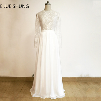 E JUE SHUNG White Vintage Lace Two Piece Prom Dresses 2017 Long Sleeves Party Dresses Elegant Evening Dresses robe de soiree