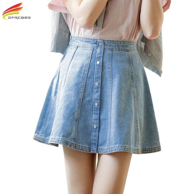 Denim Skirt Women 2018 Spring Summer New Cute High Waist Button Line A-line  Female Jeans Skirts Womens Side Zipper Lolita Skirt f575b2cf7513