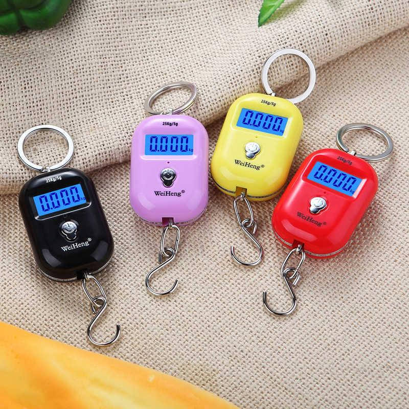 WeiHeng nouveau style Mini Balance suspendue numérique Portable 25 kg 5g LCD crochet de bagages Balance de poids de pêche