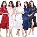 Mujeres Novia de La Boda de dama de Honor de Satén de Seda Robe Kimono Robe Feminino Femme Sexy Albornoz Bata Bata de Baño de Gran Tamaño XXXL