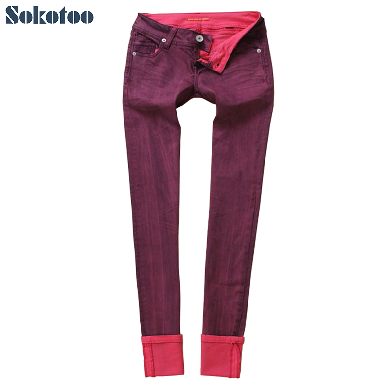 Sokotoo Women's mid waist red stetch denim straight skinny   jeans   Casual plus size pencil pants