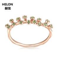 Кольцо с натуральным оливином, твердое розовое золото 14 к, обручальное кольцо для женщин, подарок на день рождения, день рождения