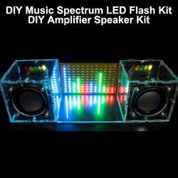 С корпусом DIY музыкальный спектр светодиодный вспышка + усилитель «сделай сам» комплект динамиков акриловый чехол Бесплатная доставка