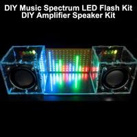 With Housing DIY Music Spectrum LED Flash Kit DIY Amplifier Speaker Kit Acrylic Case Free Shipping