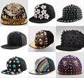 Alta calidad encajan a presión detrás los sombreros al por mayor nueva moda fucsia negro metal reina niña gorra de béisbol mujeres de la marca de hip hop snapback tapas