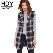 HDY Haoduoyi Plaid Coats Women Sleeveless Turn-down Collor Double Pockets Drawstring Women Coats Double Breasted Casual Coat