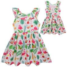 2019 New Summer Baby Girls Dress Kids Cotton Flamingo Print Sleeveless  Princess Dresses