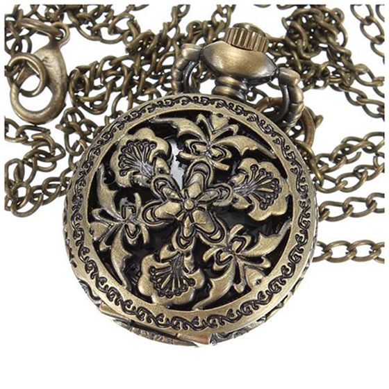 Practical Vintage Mens Lady Bronze Antique Pendant Necklace Chain Hollow Pocket Watch Gift Style:big Flower