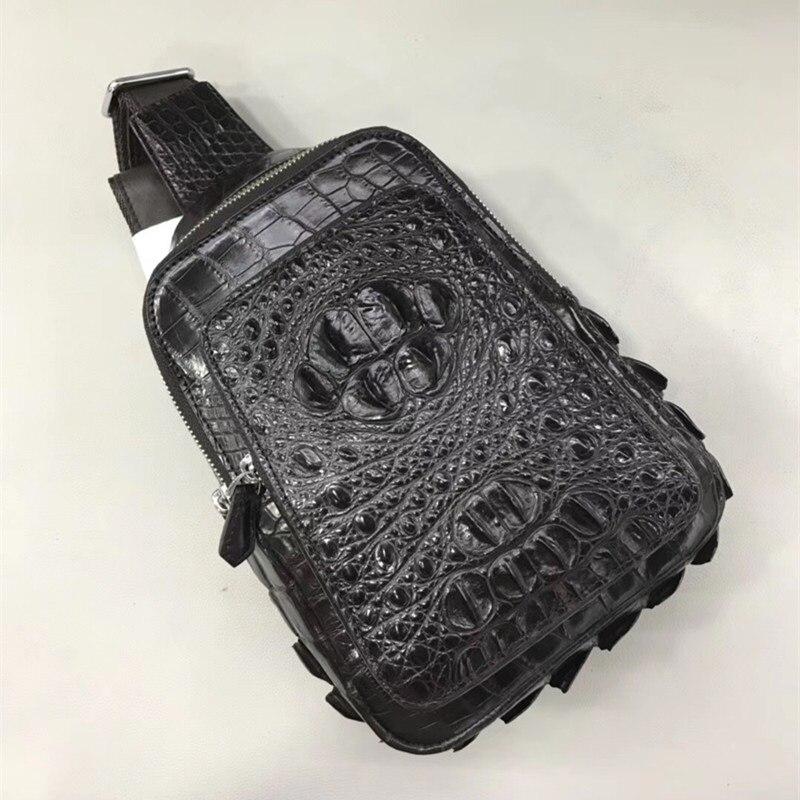 Fantaisie véritable peau de Crocodile fermeture à glissière petit sac de poitrine décontracté en cuir Alligator homme sac à bandoulière homme