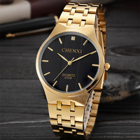 CHENXI Couple Lovers Watch Women Men Gold WatchesTop Brand Lxury Famous Wristwatch Male Female Clock Golden