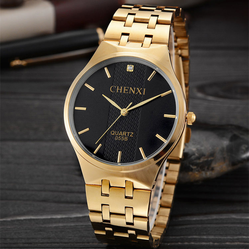CHENXI Wristwatches Gold Watch Men Watches Top Brand Luxury Famous Male Clock Golden Steel Wrist Quartz Watch Relogio Masculino fashion male watches men top famous brand gold wrist watch leather band quartz casual big dial clock relogio masculino hodinky36