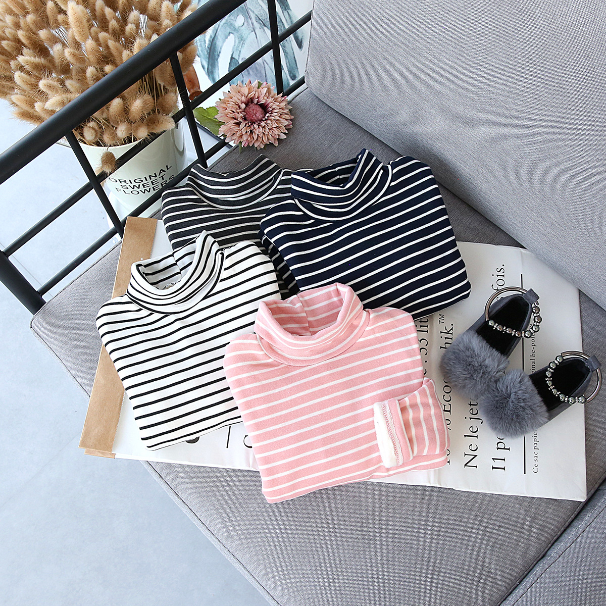 New 2018 Winter Girls Turtleneck Plus Velvet Thick Warm Striped T-Shirt Kids Baby Autumn Slim Fleece Undershirts Wholesale Tees цена