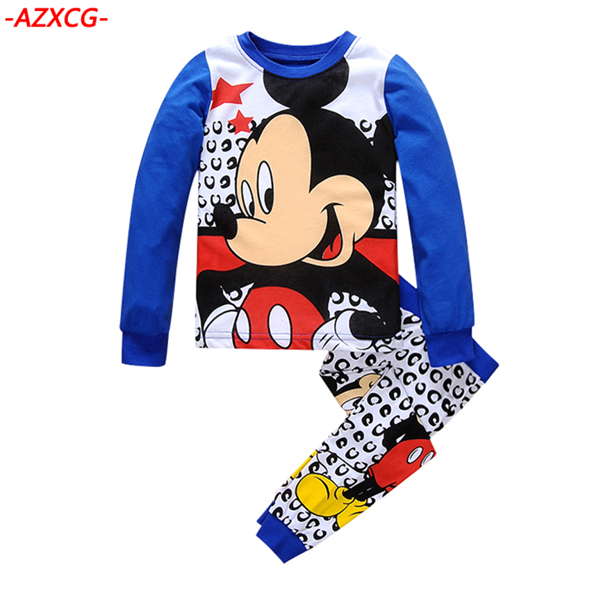 New Boys Mickey Pajamas Kids Autumn Winter Pajama Set Children Long Sleeve Sleepwear Boys Cute Cotton Pyjamas Suit Boy Clothing 2015 new arrive super league christmas outfit pajamas for boys kids children suit st 004