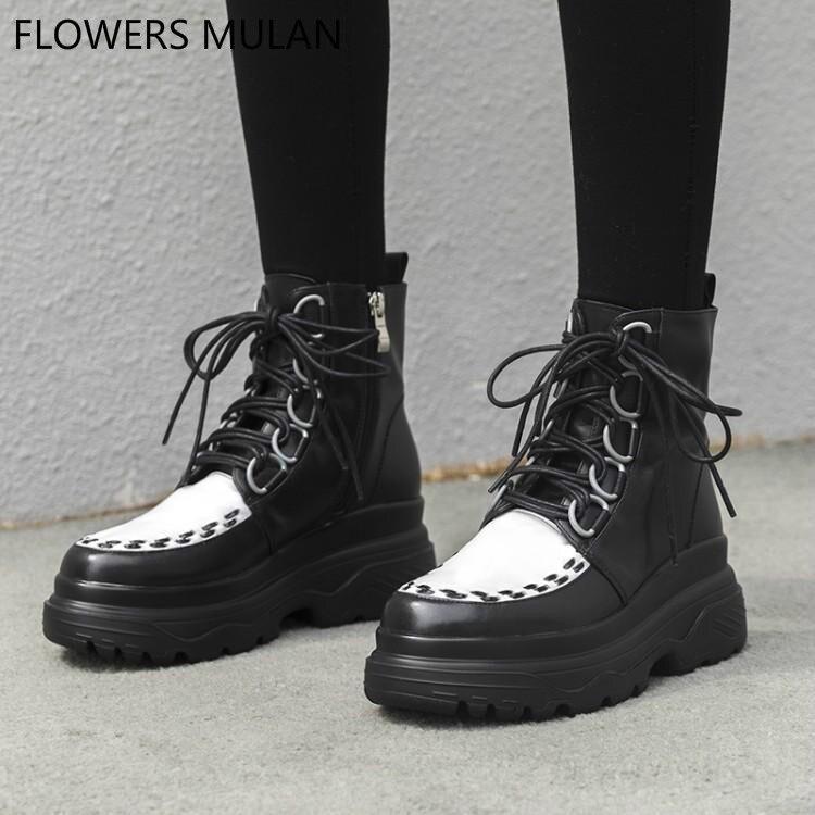 7e3edbe32009 Moyen Noir Rond Caoutchouc Cuir Couleur Liée Plate Femmes Femme Mixte  Chaussures Martin Bottes Hiver Coudre ...