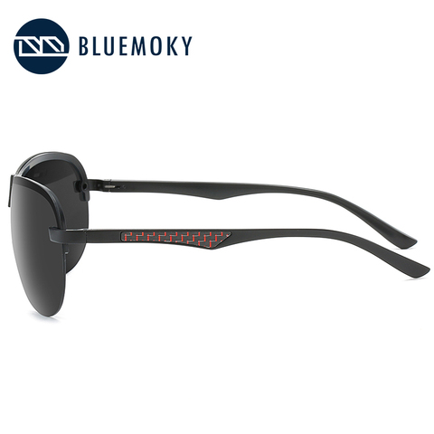 BLUEMOKY Male Rimless Siamese Aviation Sunglasses for Men Polarized UV400 Pilot Sun Glasses for Men Polaroid Sports Eyewear Multan