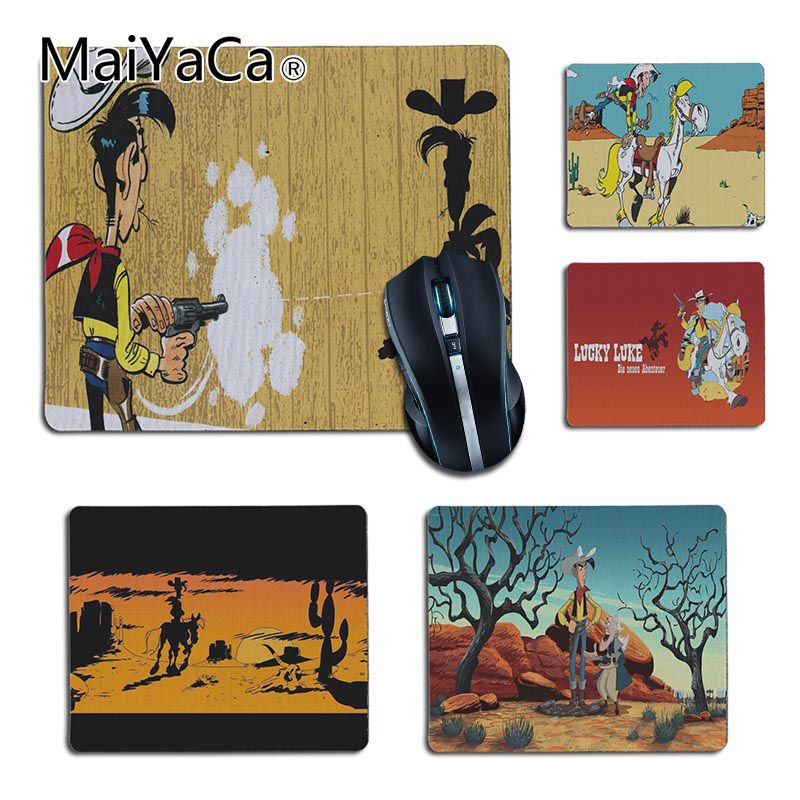 MaiYaCa Personalized Cool Fashion Lucky Luke Rubber Black Mousepad Gamer Play Mats For Dota2 CS LOL Player Gaming Mouse Pad