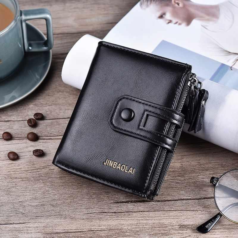 Двухслойный кошелек, застежка из искусственной кожи, мужской кошелек, дизайн, короткие модные мужские кошельки с застежкой-молнией, кошелек с карманом для монет, винтажные держатели для карт