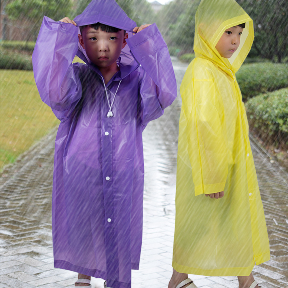 Fashion Frosted Child Transparent EVA Raincoat Girl Boy Rainwear Outdoor Hiking Travel Rain Gear Coat For Children-in Raincoats from Home & Garden