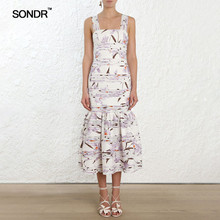 SONDR Print Dresses Female Sleeveless Off Shoulder High Waist Ankle Length Suspender Dress Elegant Fashion 2019 Summer