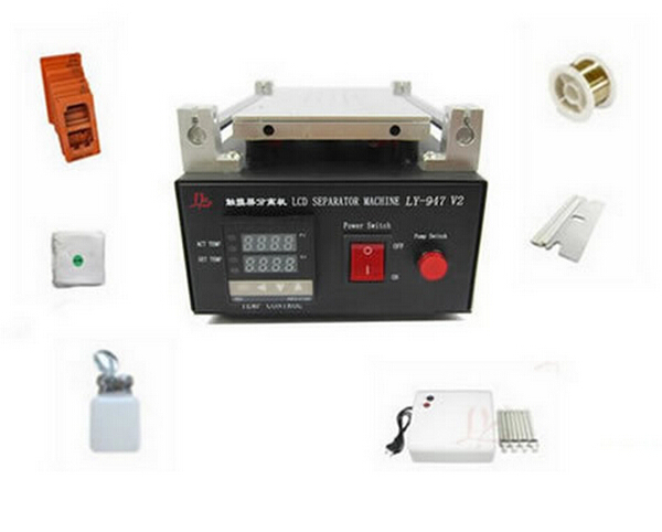 LY 947V Vacuum screen separator machine for LCD refurbishment + moulds + uv curing lamp + cutting wire